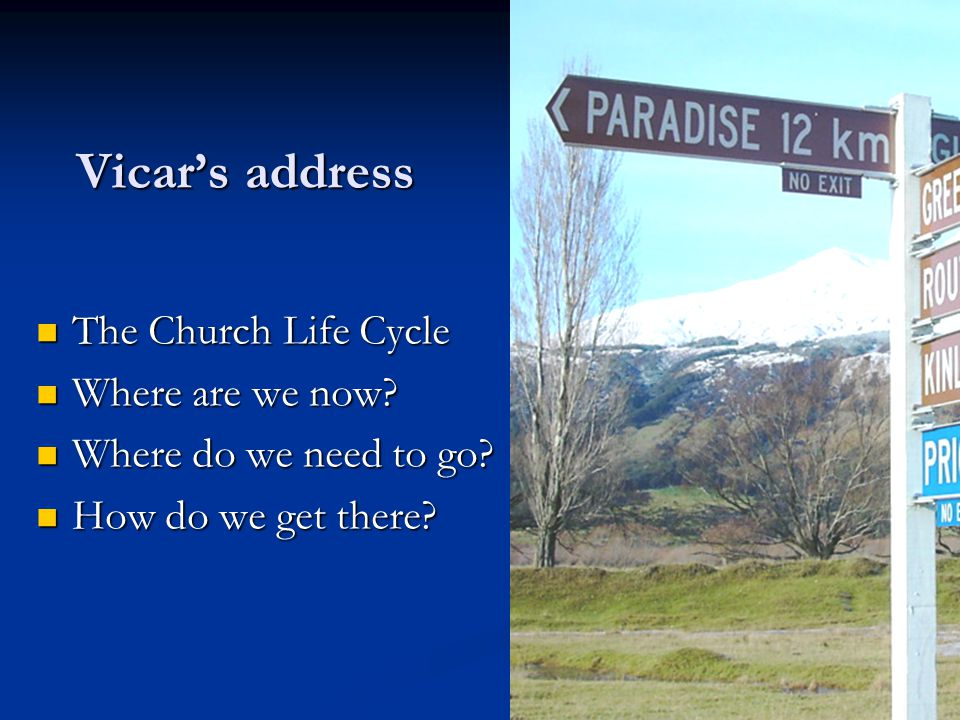 Vicars address The Church Life Cycle The Church Life Cycle Where are we now? Where are we now? Where do we need to go? Where do we need to go? How do