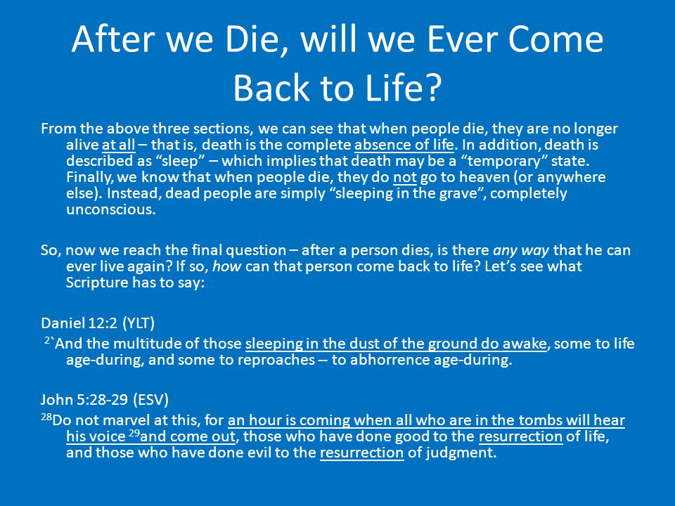 After we Die, will we Ever Come Back to Life.