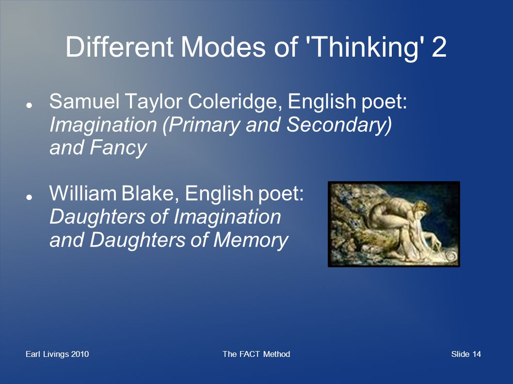 Slide 14 Earl Livings 2010The FACT Method Different Modes of Thinking 2 Samuel Taylor Coleridge, English poet: Imagination (Primary and Secondary) and Fancy William Blake, English poet: Daughters of Imagination and Daughters of Memory