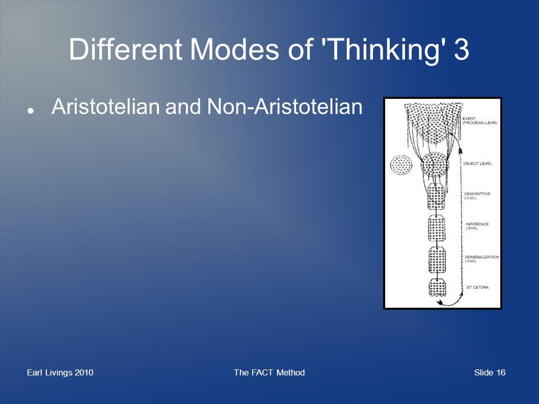 Slide 16 Earl Livings 2010The FACT Method Different Modes of Thinking 3 Aristotelian and Non-Aristotelian