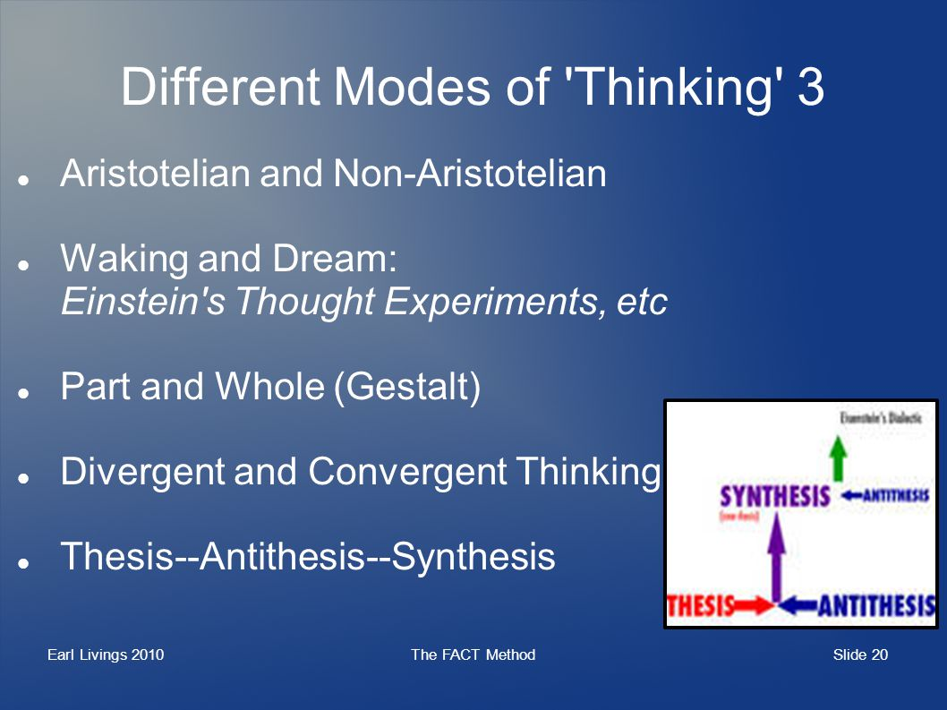 Slide 20 Earl Livings 2010The FACT Method Different Modes of 'Thinking' 3 Aristotelian and Non-Aristotelian Waking and Dream: Einstein's Thought Exper