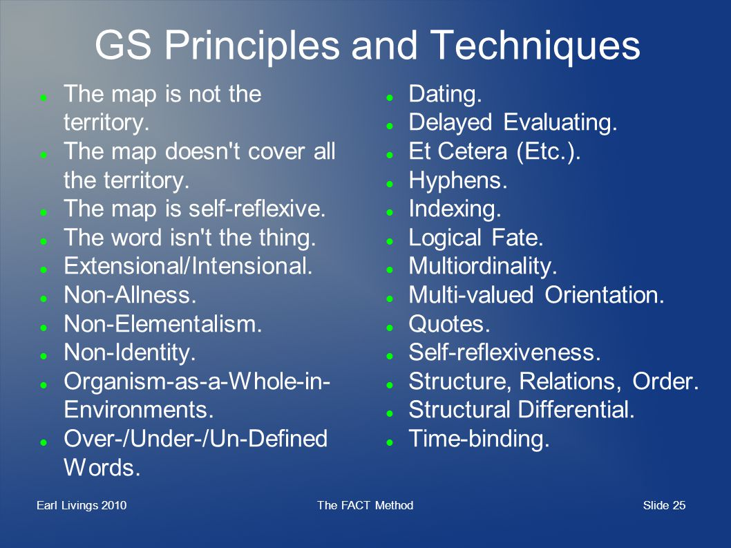 Slide 25 Earl Livings 2010The FACT Method GS Principles and Techniques The map is not the territory. The map doesn't cover all the territory. The map