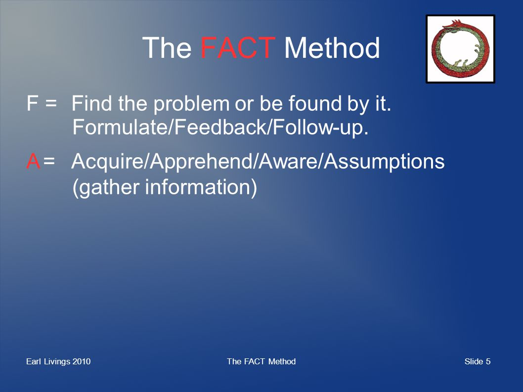 Slide 5 Earl Livings 2010The FACT Method F =Find the problem or be found by it.