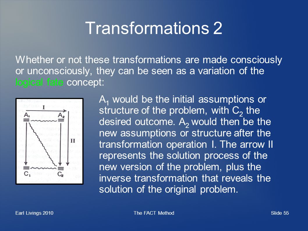 Slide 55 Earl Livings 2010The FACT Method Transformations 2 Whether or not these transformations are made consciously or unconsciously, they can be se