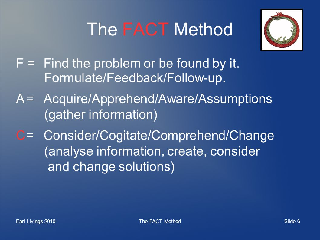 Slide 6 Earl Livings 2010The FACT Method F =Find the problem or be found by it. Formulate/Feedback/Follow-up. A=Acquire/Apprehend/Aware/Assumptions (g