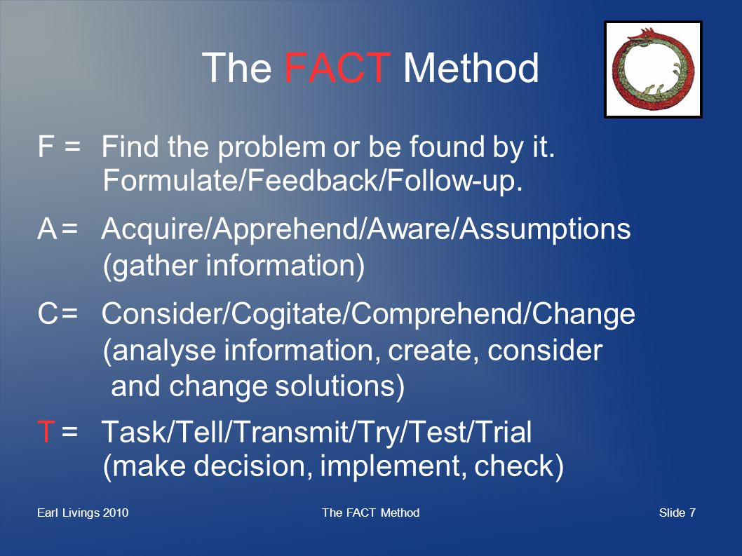 Slide 7 Earl Livings 2010The FACT Method F =Find the problem or be found by it. Formulate/Feedback/Follow-up. A=Acquire/Apprehend/Aware/Assumptions (g