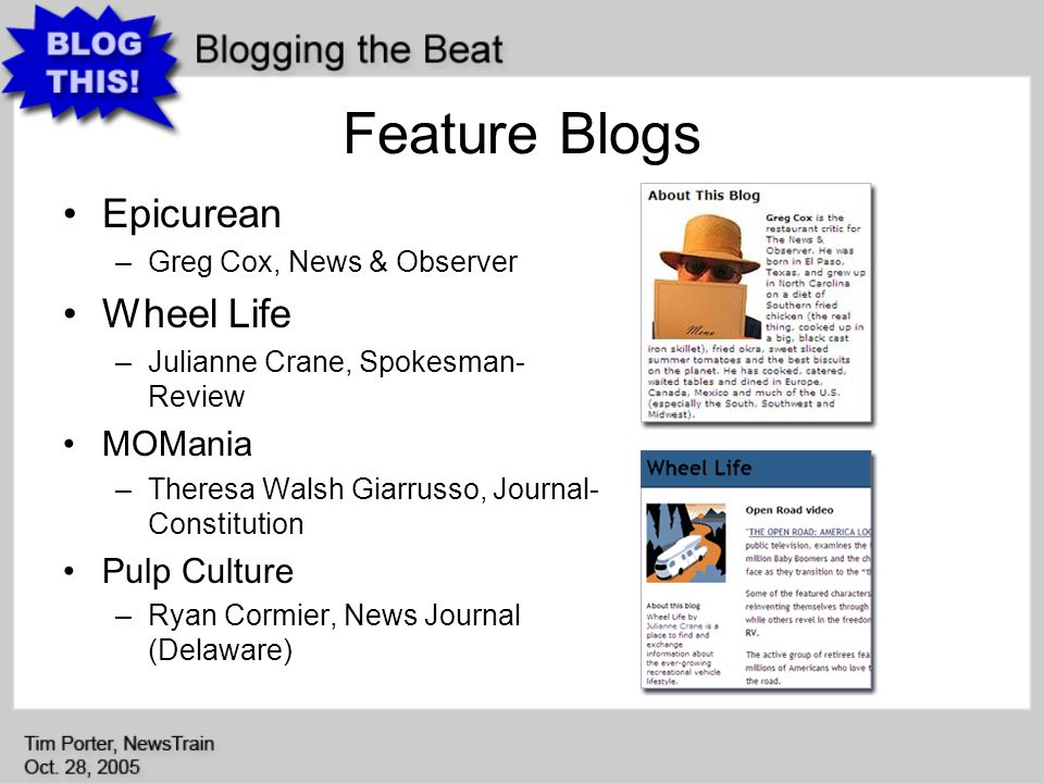 Feature Blogs Epicurean –Greg Cox, News & Observer Wheel Life –Julianne Crane, Spokesman- Review MOMania –Theresa Walsh Giarrusso, Journal- Constitution Pulp Culture –Ryan Cormier, News Journal (Delaware)