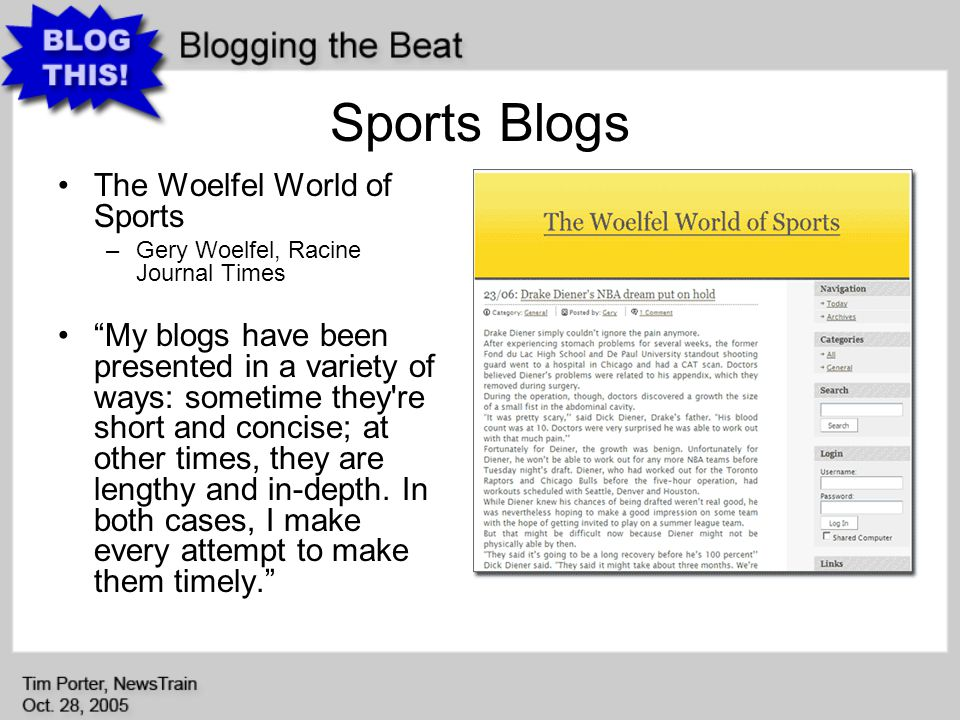 Sports Blogs The Woelfel World of Sports –Gery Woelfel, Racine Journal Times My blogs have been presented in a variety of ways: sometime they re short and concise; at other times, they are lengthy and in-depth.