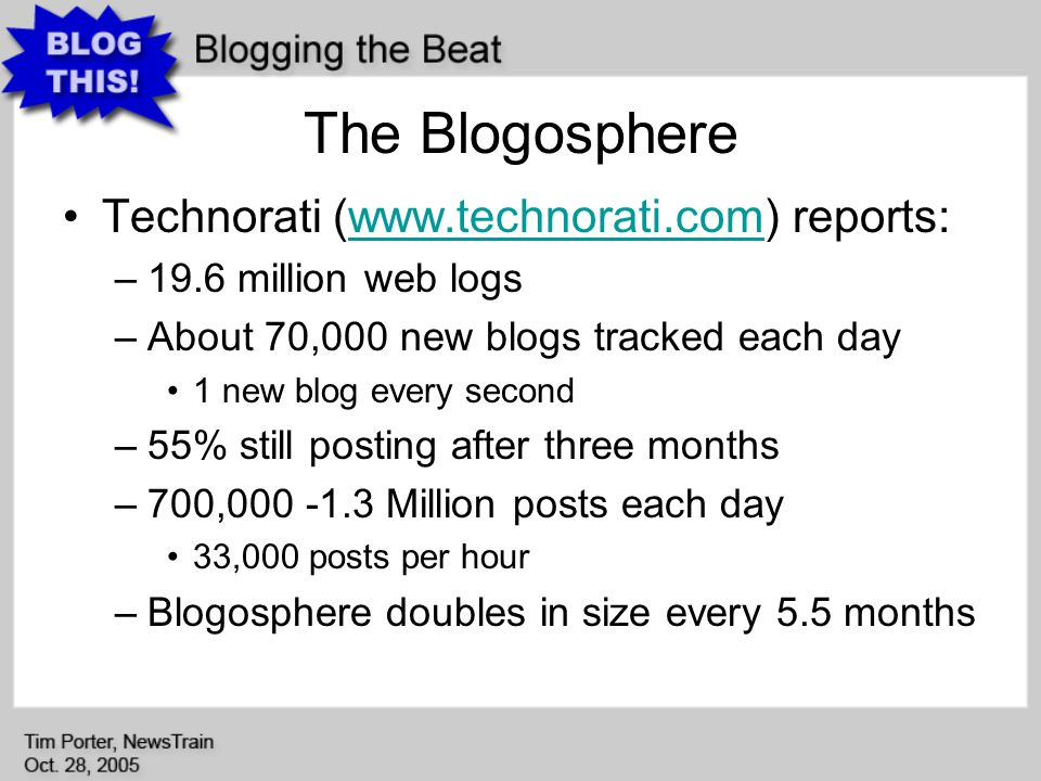 The Blogosphere Technorati (www.technorati.com) reports:www.technorati.com –19.6 million web logs –About 70,000 new blogs tracked each day 1 new blog every second –55% still posting after three months –700,000 -1.3 Million posts each day 33,000 posts per hour –Blogosphere doubles in size every 5.5 months