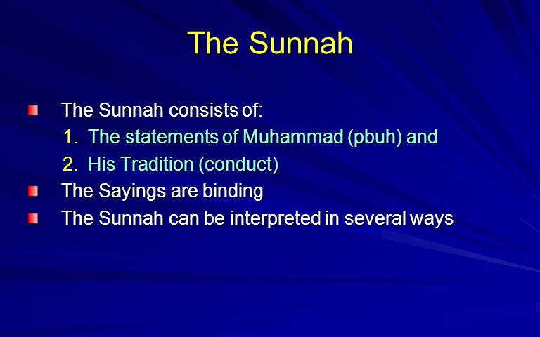 To Follow the Shari ah To be a person of piety (Taq wa) a Muslim strives to: 1.Follow the Quran 2.Apply the Hadith s instructions 3.Emulate the conduct of Prophet Muhammad (pbuh) 4.By so doing he/she will have achieved the perfection of character and gained Heaven