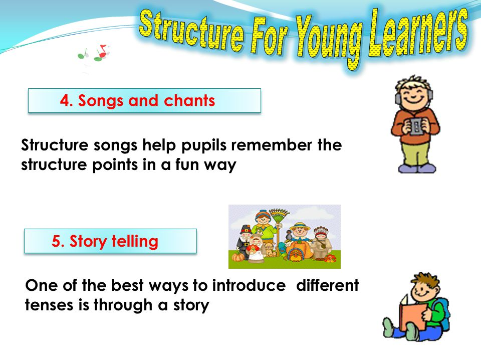 4. Songs and chants Structure songs help pupils remember the structure points in a fun way 5.