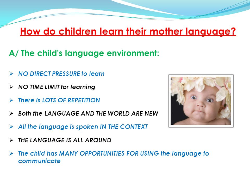 B / The Child s Learning Strategies: The child in NOT INTERESTED IN LANGUAGE for its own sake.