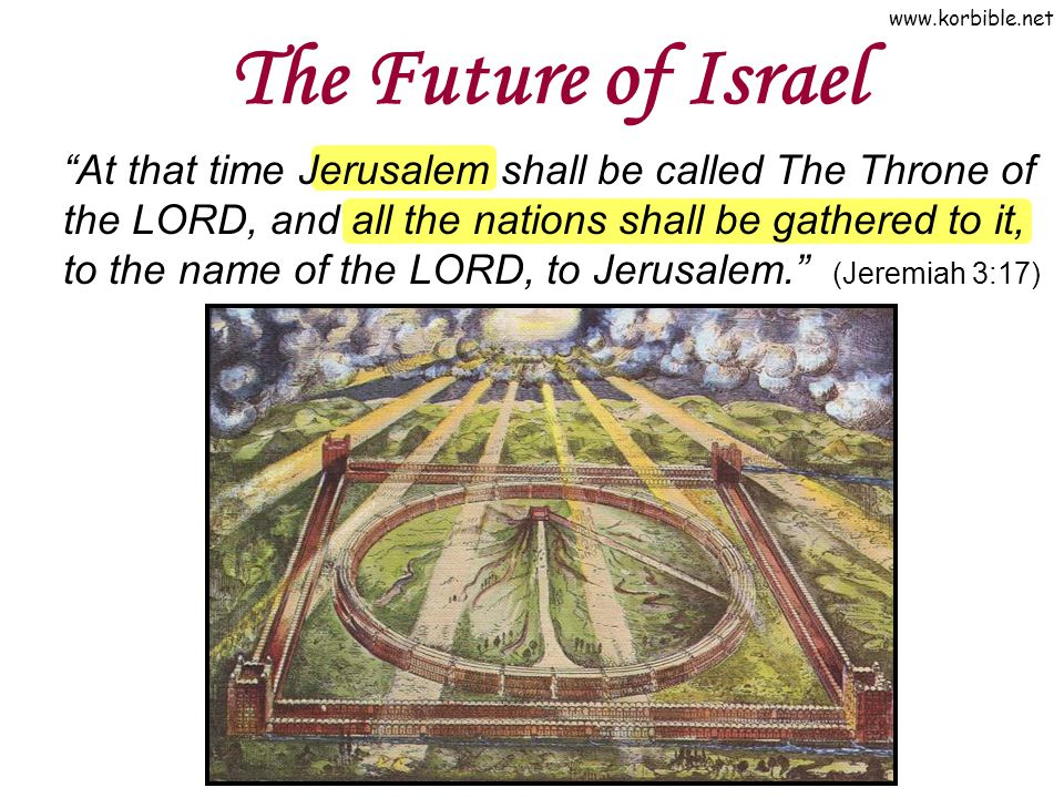 www.korbible.net The Future of Israel At that time Jerusalem shall be called The Throne of the LORD, and all the nations shall be gathered to it, to t