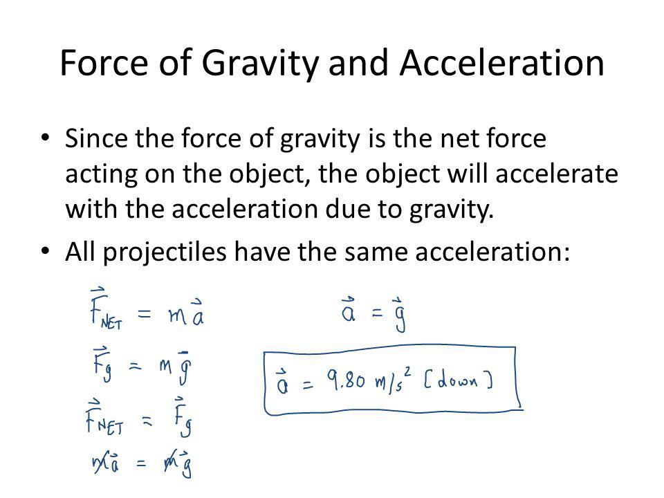 Force of Gravity and Acceleration Since the force of gravity is the net force acting on the object, the object will accelerate with the acceleration d