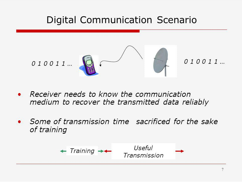 7 Digital Communication Scenario Receiver needs to know the communication medium to recover the transmitted data reliably Some of transmission time sacrificed for the sake of training Training Useful Transmission 0 1 0 0 1 1 …