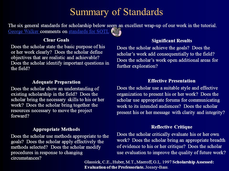 Summary of Standards Clear Goals Does the scholar state the basic purpose of his or her work clearly? Does the scholar define objectives that are real