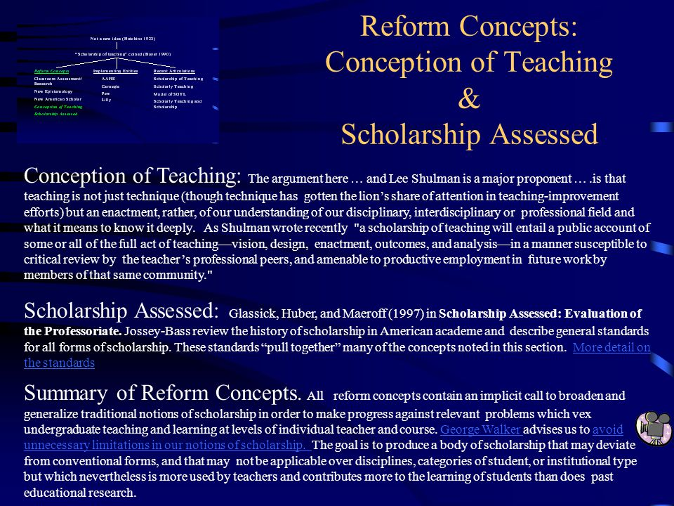 Reform Concepts: Conception of Teaching & Scholarship Assessed Conception of Teaching: The argument here … and Lee Shulman is a major proponent ….is t