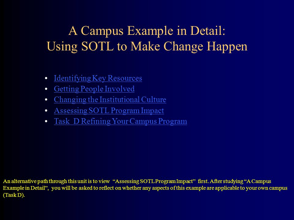 Identifying Key Resources Getting People Involved Changing the Institutional Culture Assessing SOTL Program Impact Task D Refining Your Campus Program