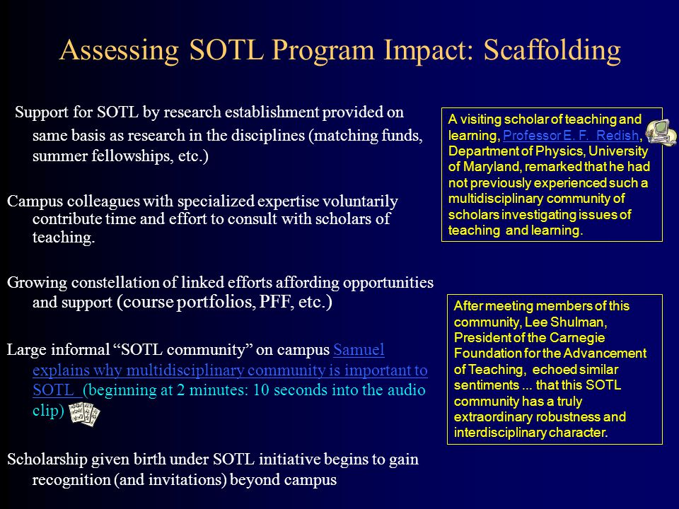 Support for SOTL by research establishment provided on same basis as research in the disciplines (matching funds, summer fellowships, etc.) Campus col