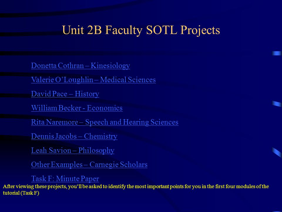 Unit 2B Faculty SOTL Projects Donetta Cothran – Kinesiology Valerie OLoughlin – Medical Sciences David Pace – History William Becker - Economics Rita