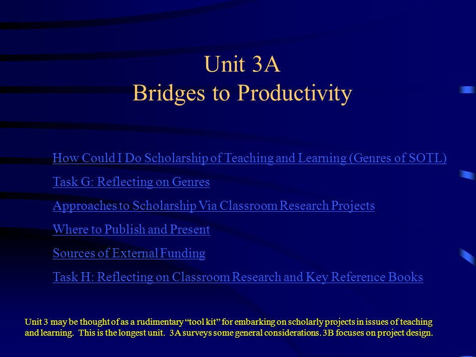 Unit 3A Bridges to Productivity How Could I Do Scholarship of Teaching and Learning (Genres of SOTL) Task G: Reflecting on Genres Approaches to Schola