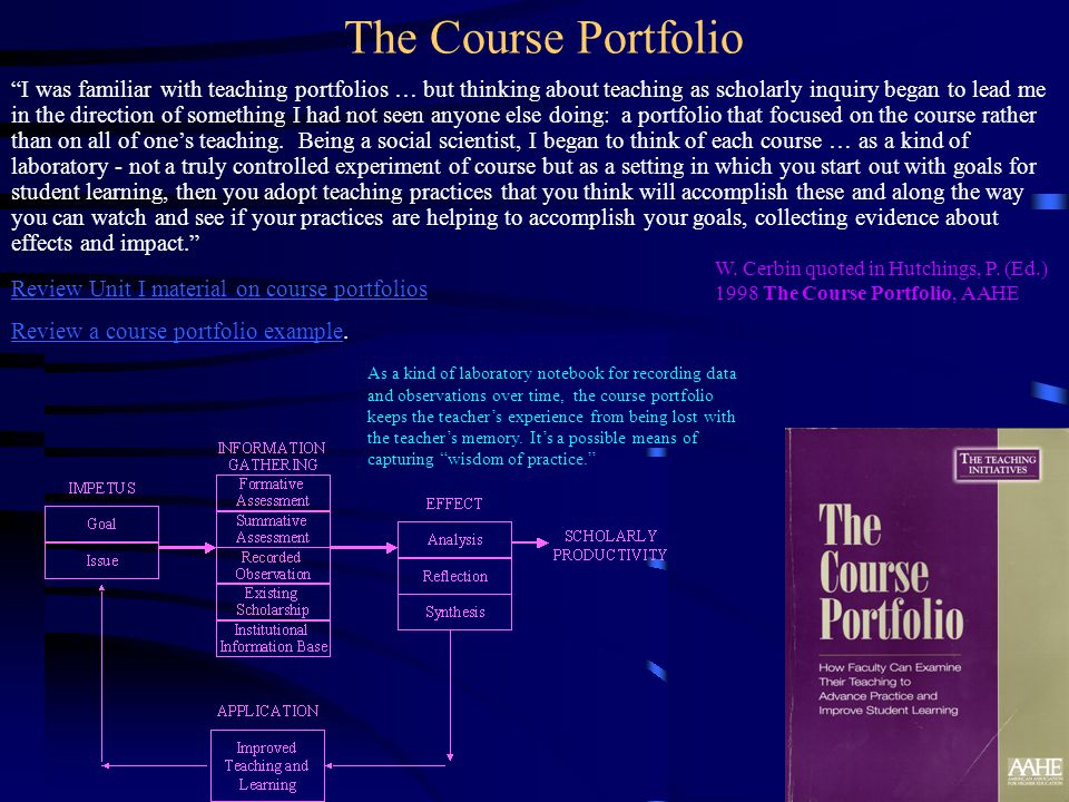 I was familiar with teaching portfolios … but thinking about teaching as scholarly inquiry began to lead me in the direction of something I had not se