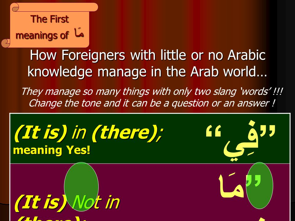 How Foreigners with little or no Arabic knowledge manage in the Arab world… (It is) in (there); meaning Yes.
