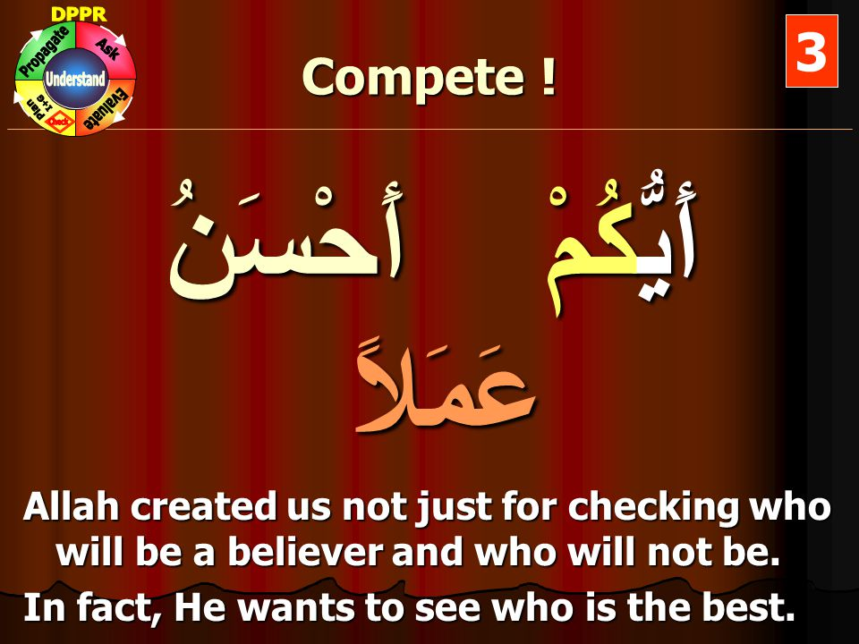 Compete ! أَيُّكُمْ أَحْسَنُ عَمَلاً Allah created us not just for checking who will be a believer and who will not be. In fact, He wants to see who i