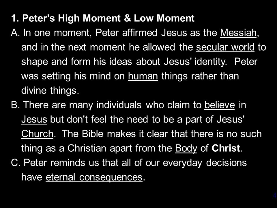 1. Peter s High Moment & Low Moment A.