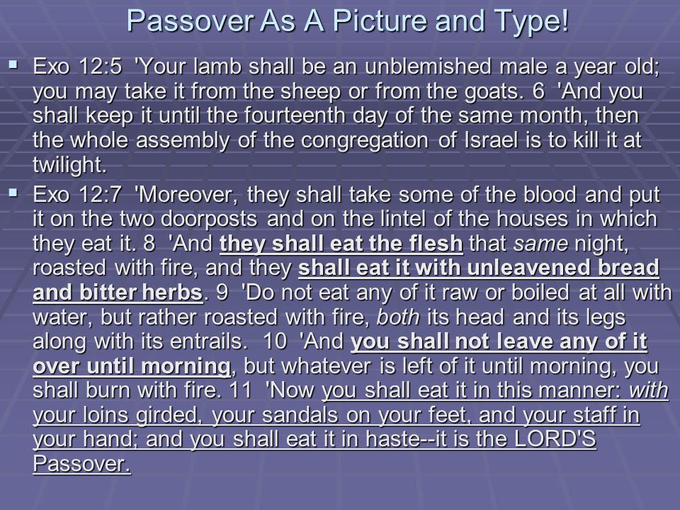 Passover As A Picture and Type.