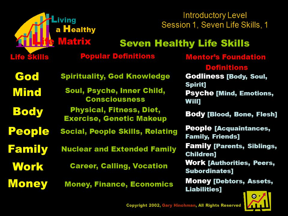 Introductory Level Session 1, Seven Life Skills, 1 Copyright 2002, Gary Hinchman, All Rights Reserved L iving a H ealthy L ife Matrix Seven Healthy Life Skills God Mind Body People Family Work Money Spirituality, God KnowledgeGodliness [Body, Soul, Spirit] Soul, Psyche, Inner Child, Consciousness Psyche [Mind, Emotions, Will] Physical, Fitness, Diet, Exercise, Genetic Makeup Body [Blood, Bone, Flesh] Social, People Skills, Relating People [Acquaintances, Family, Friends] Life Skills Popular Definitions Mentors Foundation Definitions Nuclear and Extended Family Family [Parents, Siblings, Children] Career, Calling, Vocation Work [Authorities, Peers, Subordinates] Money, Finance, Economics Money [Debtors, Assets, Liabilities]