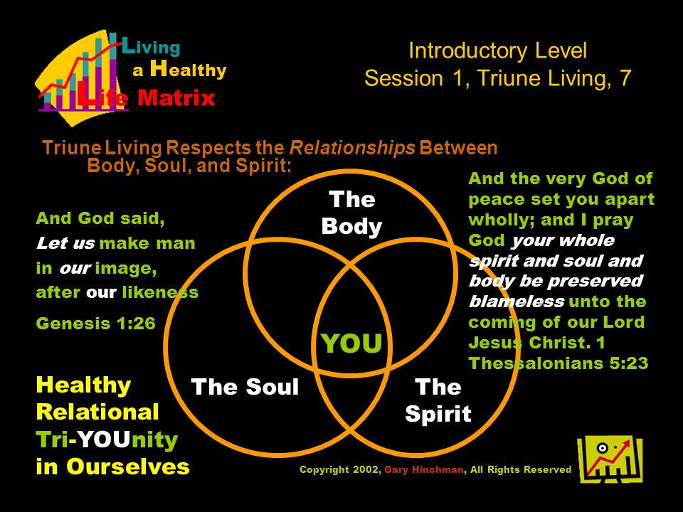 Introductory Level Session 1, Triune Living, 7 Triune Living Respects the Relationships Between Body, Soul, and Spirit: Copyright 2002, Gary Hinchman, All Rights Reserved L iving a H ealthy L ife Matrix YOU The Body The SoulThe Spirit Healthy Relational Tri-YOUnity in Ourselves And God said, Let us make man in our image, after our likeness Genesis 1:26 And the very God of peace set you apart wholly; and I pray God your whole spirit and soul and body be preserved blameless unto the coming of our Lord Jesus Christ.