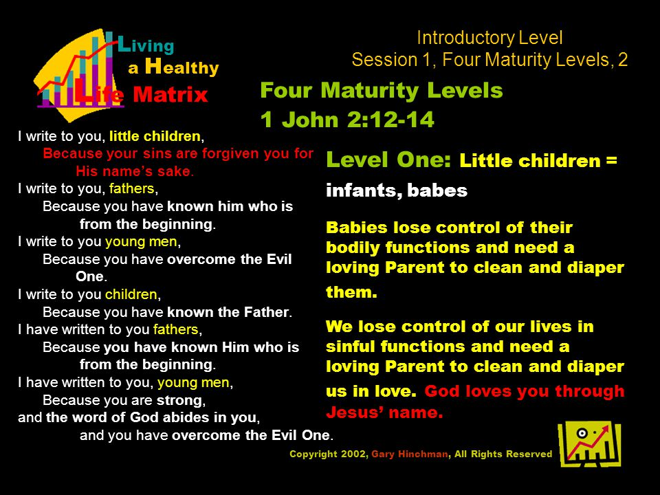 Introductory Level Session 1, Four Maturity Levels, 2 I write to you, little children, Because your sins are forgiven you for His names sake.