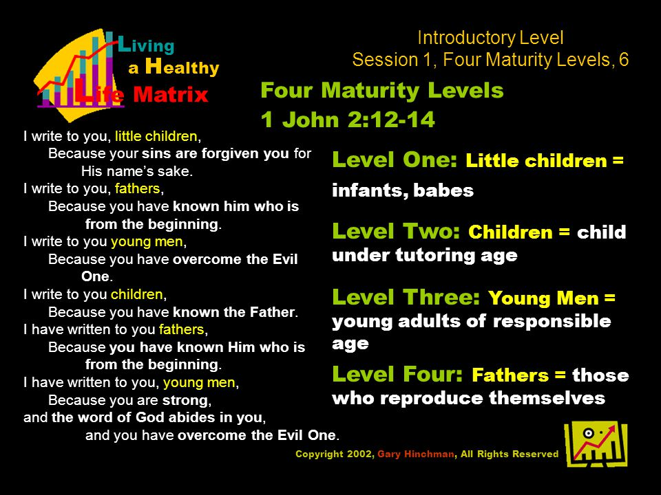 Introductory Level Session 1, Four Maturity Levels, 6 I write to you, little children, Because your sins are forgiven you for His names sake.