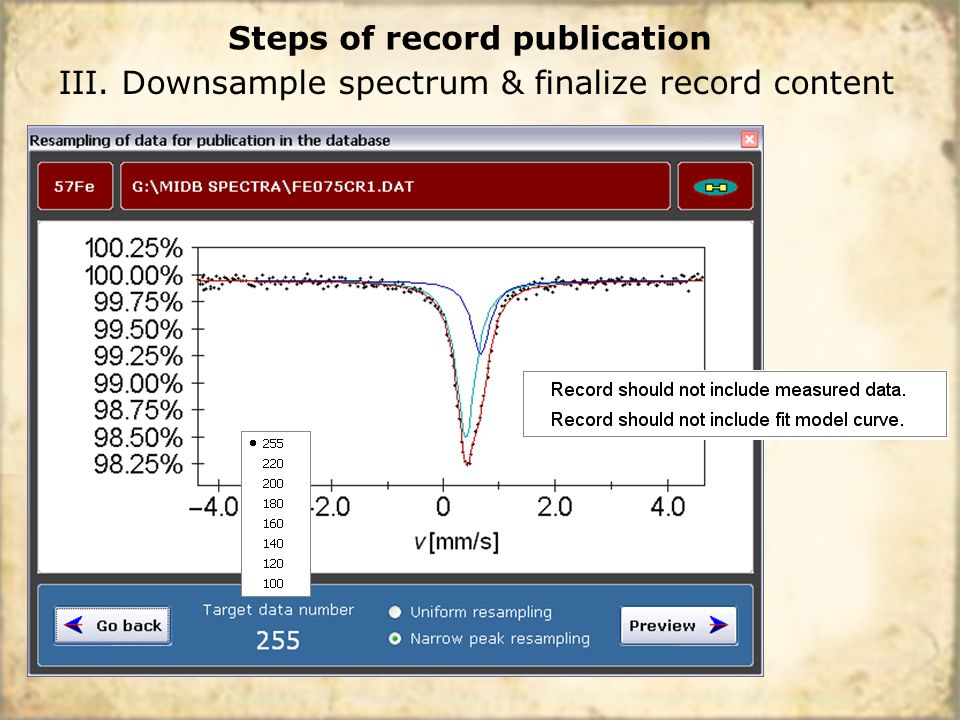 III. Downsample spectrum & finalize record content Steps of record publication