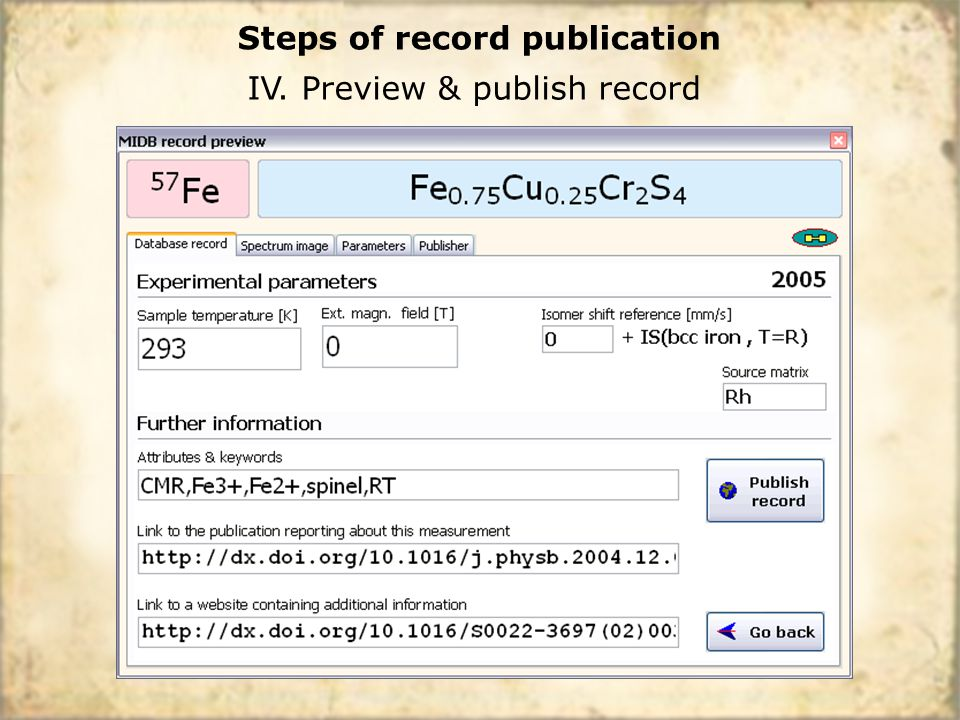 IV. Preview & publish record Steps of record publication