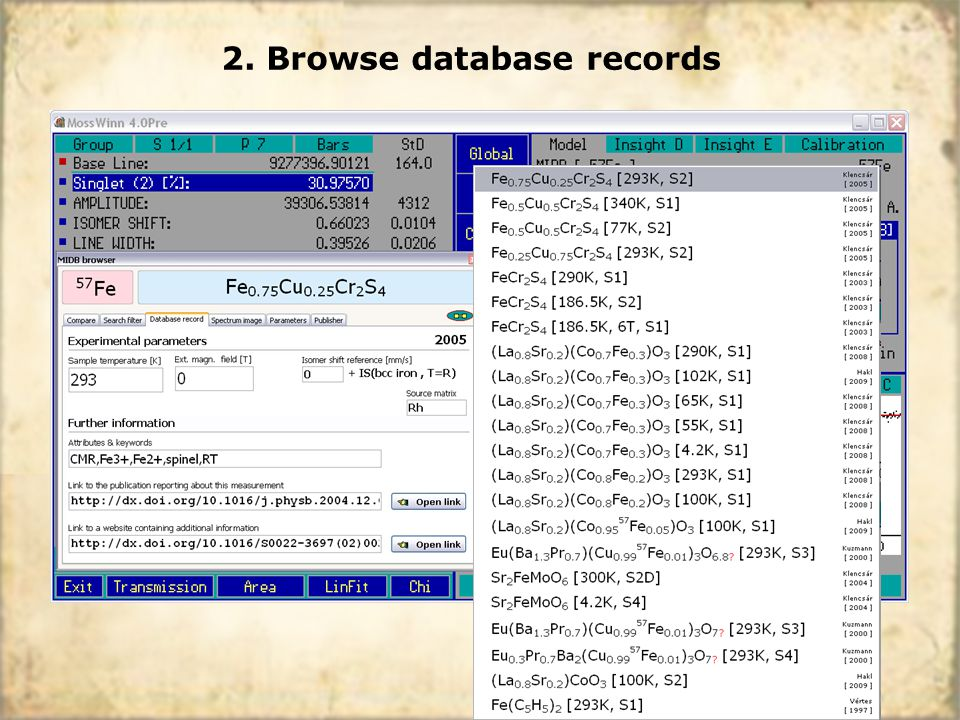 2. Browse database records