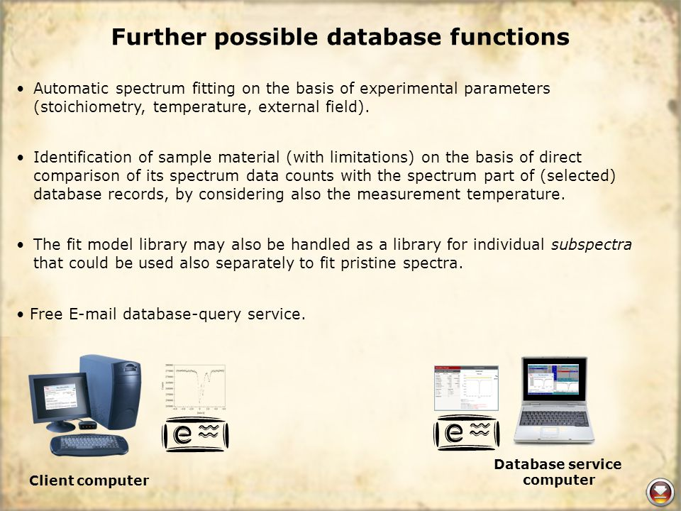 Further possible database functions Automatic spectrum fitting on the basis of experimental parameters (stoichiometry, temperature, external field).