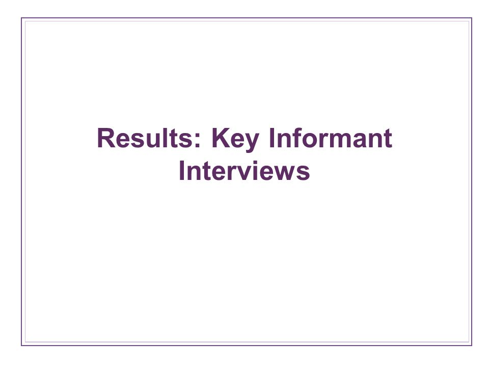 Results: Key Informant Interviews