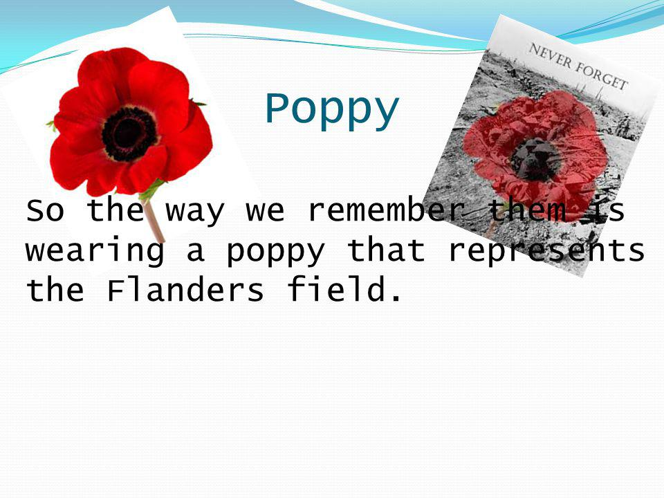 Poppy So the way we remember them is wearing a poppy that represents the Flanders field.