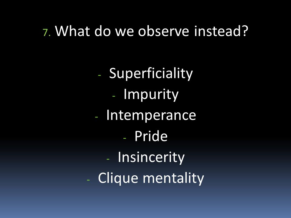 7. What do we observe instead.