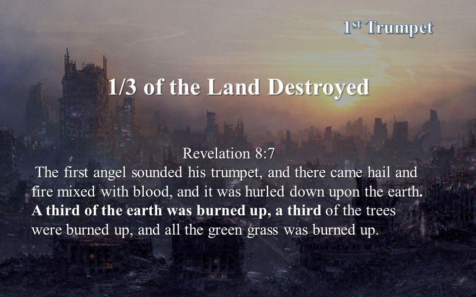 1/3 of the Land Destroyed Revelation 8:7 The first angel sounded his trumpet, and there came hail and fire mixed with blood, and it was hurled down upon the earth.