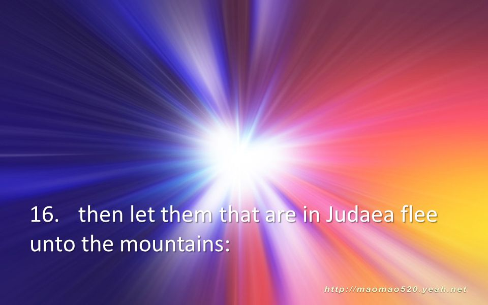 16.then let them that are in Judaea flee unto the mountains: