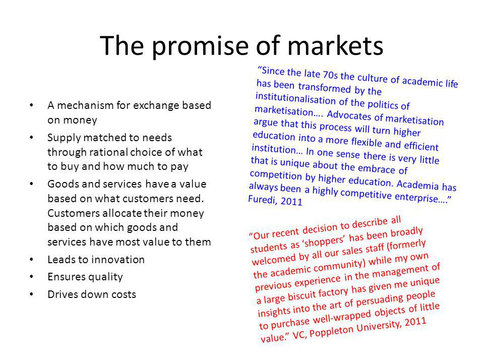 The promise of markets A mechanism for exchange based on money Supply matched to needs through rational choice of what to buy and how much to pay Goods and services have a value based on what customers need.