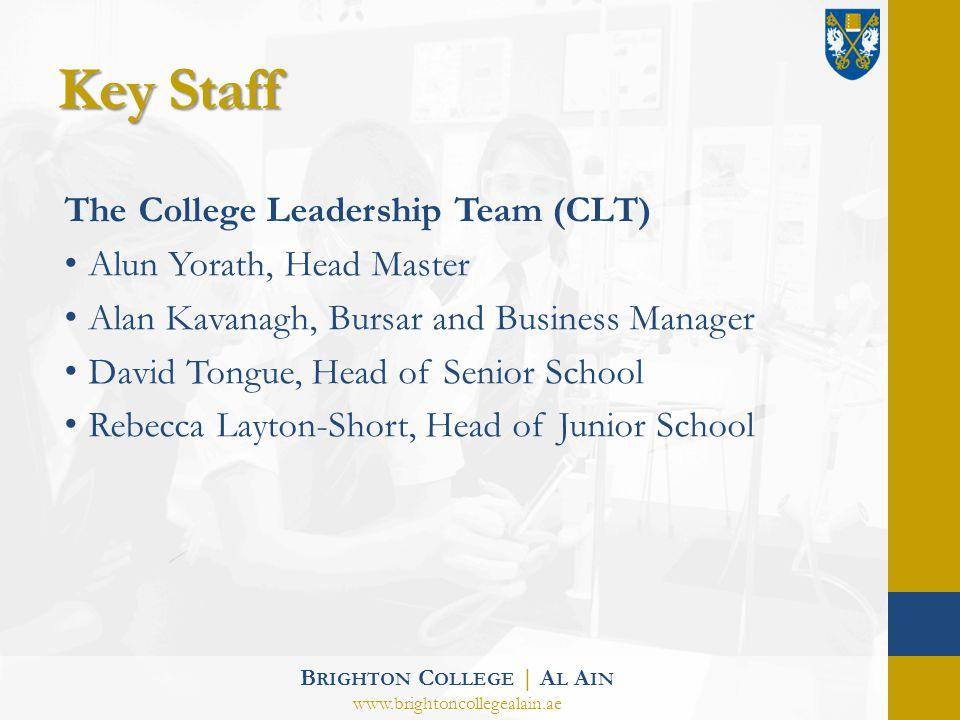 Key Staff The College Leadership Team (CLT) Alun Yorath, Head Master Alan Kavanagh, Bursar and Business Manager David Tongue, Head of Senior School Re