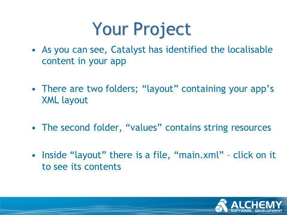 Your Project As you can see, Catalyst has identified the localisable content in your app There are two folders; layout containing your apps XML layout