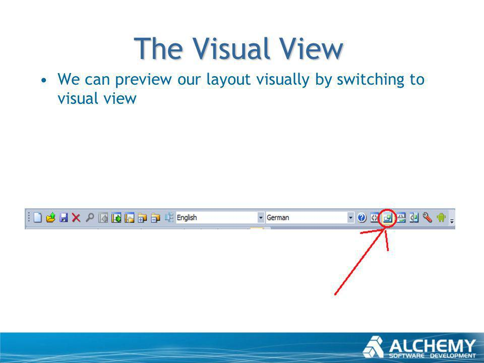 The Visual View We can preview our layout visually by switching to visual view