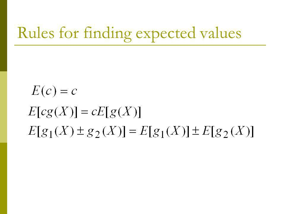 Rules for finding expected values