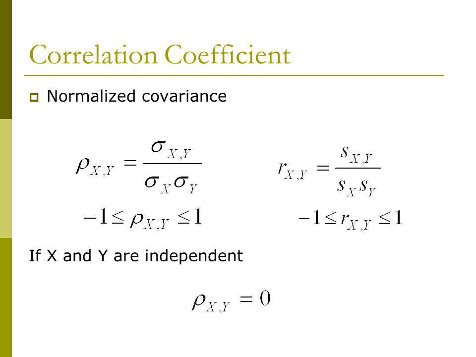 Correlation Coefficient Normalized covariance If X and Y are independent