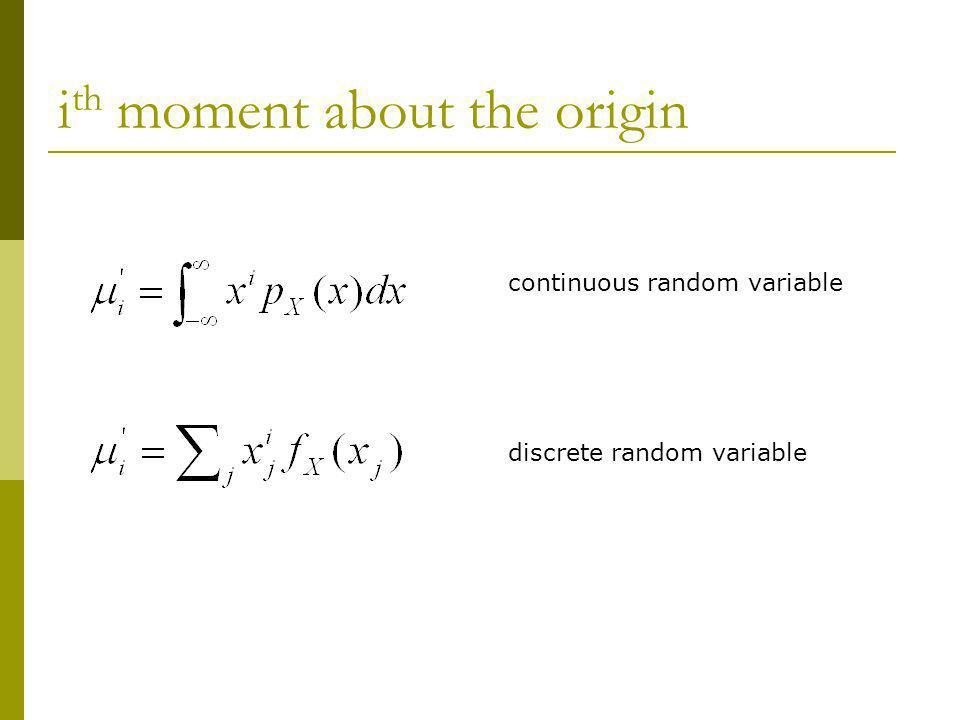 i th moment about the origin continuous random variable discrete random variable